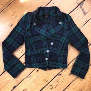 1OC plaid collared military blazer pockets S